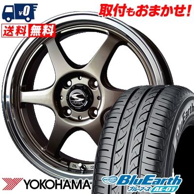 155/55R14 69V YOKOHAMA ヨコハマ BluEarth AE-01 ブルーアース AE01 BADX S-HOLD STOLZ バドックス エスホールド シュトルツ サマータイヤホイール4本セット