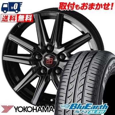 205/55R16 91V YOKOHAMA ヨコハマ BluEarth AE-01F ブルーアース AE01F SEIN SS BLACK EDITION ザイン エスエス ブラックエディション サマータイヤホイール4本セット