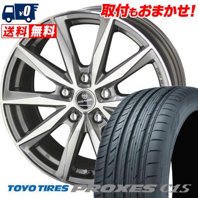 『新型プリウス専用』 195/65R15 91V TOYO TIRES トーヨー タイヤ PROXES C1S プロクセス C1S SMACK BASALT スマック バサルト サマータイヤホイール4本セット