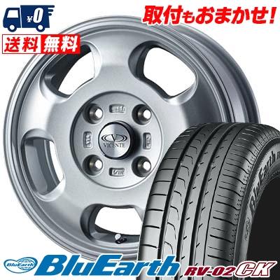 185/70R14 88S YOKOHAMA ヨコハマ BLUE EARTH RV02 CK ブルーアース RV-02 CK VICENTE-05 NV ヴィセンテ05 NV サマータイヤホイール4本セット