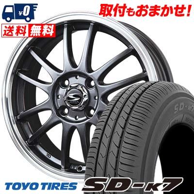 155/55R14 69V TOYO TIRES トーヨー タイヤ SD-K7 エスディーケ-セブン BADX S-HOLD LAGUNA バドックス エスホールド ラグナ サマータイヤホイール4本セット
