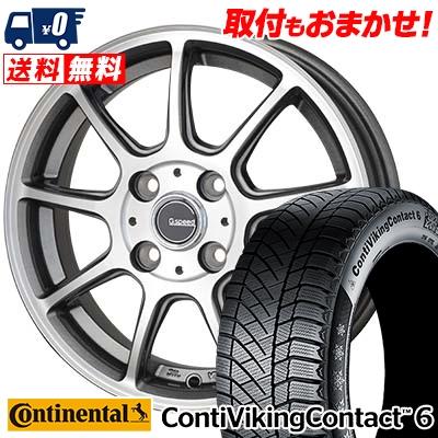 185/60R14 CONTINENTAL コンチネンタル ContiVikingContact6 コンチバイキングコンタクト6 G.Speed P-01 Gスピード P-01 スタッドレスタイヤホイール4本セット