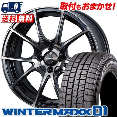 165/60R15 DUNLOP ダンロップ WINTER MAXX 01 WM01 ウインターマックス 01 wedsSport SA-10R ウエッズスポーツ SA10R スタッドレスタイヤホイール4本セット