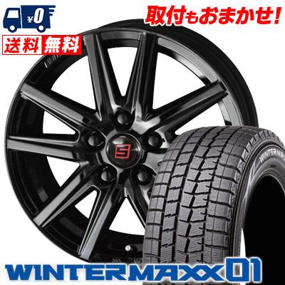 215/45R17 87Q DUNLOP ダンロップ WINTER MAXX 01 WM01 ウインターマックス 01 SEIN SS BLACK EDITION ザイン エスエス ブラックエディション スタッドレスタイヤホイール4本セット