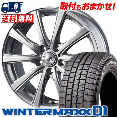 205/70R15 DUNLOP ダンロップ WINTER MAXX 01 WM01 ウインターマックス 01 AZ sports YL-10 AZスポーツ YL-10 スタッドレスタイヤホイール4本セット