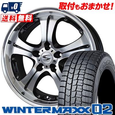 215/50R17 DUNLOP ダンロップ WINTER MAXX 02 WM02 ウインターマックス 02 BADX S-HOLD ANHELO バドックス エスホールド アネーロ スタッドレスタイヤホイール4本セット