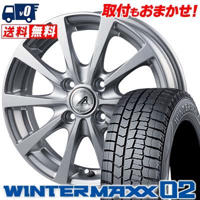 145/80R13 75Q DUNLOP ダンロップ WINTER MAXX 02 WM02 ウインターマックス 02 AZ SPORTS EX10 AZスポーツ EX10 スタッドレスタイヤホイール4本セット