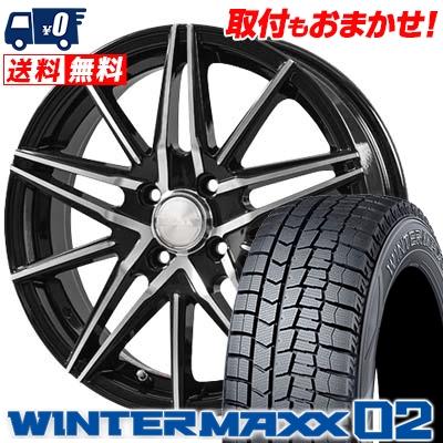 155/55R14 DUNLOP ダンロップ WINTER MAXX 02 WM02 ウインターマックス 02 BLONKS TB01 ブロンクス TB01 スタッドレスタイヤホイール4本セット
