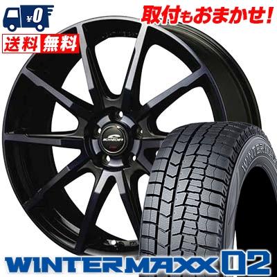 215/50R17 DUNLOP ダンロップ WINTER MAXX 02 WM02 ウインターマックス 02 SCHNEIDER DR-01 シュナイダー DR-01 スタッドレスタイヤホイール4本セット