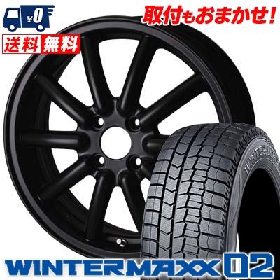 145/65R15 DUNLOP ダンロップ WINTER MAXX 02 WM02 ウインターマックス 02 ALGERNON Fenice RX1 アルジェノン フェニーチェ RX1 スタッドレスタイヤホイール4本セット