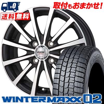 185/65R14 DUNLOP ダンロップ WINTER MAXX 02 WM02 ウインターマックス 02 JP STYLE Shangly JPスタイル シャングリー スタッドレスタイヤホイール4本セット