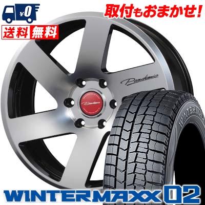 225/50R18 DUNLOP ダンロップ WINTER MAXX 02 WM02 ウインターマックス 02 PANDEMIC LF-6 MONO BLOCK パンデミック LF-6 モノブロック スタッドレスタイヤホイール4本セット