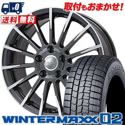 235/50R18 DUNLOP ダンロップ WINTER MAXX 02 WM02 ウインターマックス 02 Leyseen F-XV レイシーン FX-V スタッドレスタイヤホイール4本セット