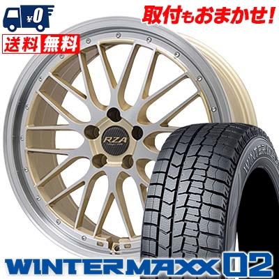 225/55R18 DUNLOP ダンロップ WINTER MAXX 02 WM02 ウインターマックス 02 Leycross REZERVA レイクロス レゼルヴァ スタッドレスタイヤホイール4本セット
