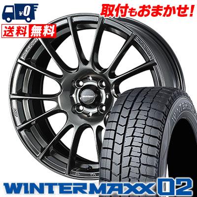 195/55R15 DUNLOP ダンロップ WINTER MAXX 02 WM02 ウインターマックス 02 WedsSport SA-72R ウェッズスポーツ SA-72R スタッドレスタイヤホイール4本セット