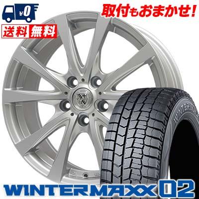 215/65R15 96Q DUNLOP ダンロップ WINTER MAXX 02 WM02 ウインターマックス 02 TRG-SILBAHN TRG シルバーン スタッドレスタイヤホイール4本セット