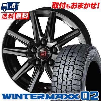 215/65R15 96Q DUNLOP ダンロップ WINTER MAXX 02 WM02 ウインターマックス 02 SEIN SS BLACK EDITION ザイン エスエス ブラックエディション スタッドレスタイヤホイール4本セット