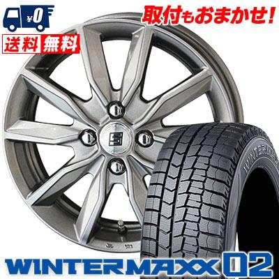 185/55R15 82Q DUNLOP ダンロップ WINTER MAXX 02 WM02 ウインターマックス 02 SEIN SV ザイン エスブイ スタッドレスタイヤホイール4本セット