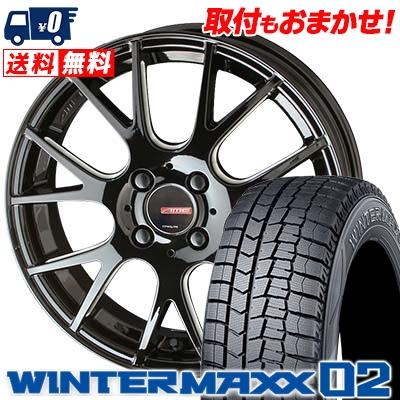 215/55R16 DUNLOP ダンロップ WINTER MAXX 02 WM02 ウインターマックス 02 CIRCLAR RM-7 サーキュラー RM-7 スタッドレスタイヤホイール4本セット