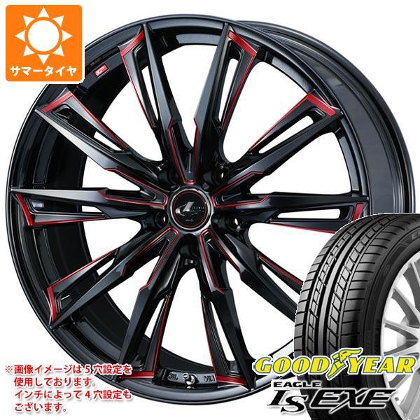 サマータイヤ 225/55R17 97V グッドイヤー イーグル LSエグゼ レオニス GX BK/SC レッド 7.0-17 タイヤホイール4本セット