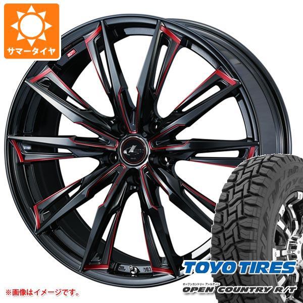 サマータイヤ 225/55R18 98Q トーヨー オープンカントリー R/T ブラックレター レオニス GX BK/SC レッド 7.0-18 タイヤホイール4本セット