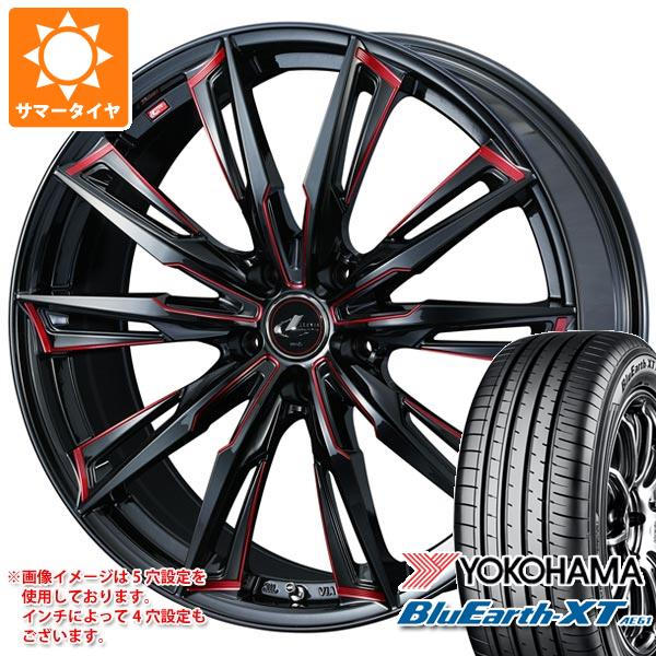 サマータイヤ 235/60R18 103W ヨコハマ ブルーアースXT AE61 レオニス GX BK/SC レッド 8.0-18 タイヤホイール4本セット