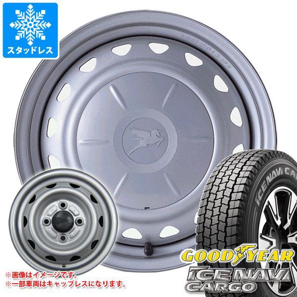 スタッドレスタイヤ グッドイヤー アイスナビカーゴ 145R12 6PR (145/80R12 80/78N相当) & キャロウィン 3.5-12 タイヤホイール4本セット 145-12 GOODYEAR ICE NAVI CARGO