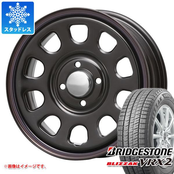 スタッドレスタイヤ ブリヂストン ブリザック VRX2 155/65R14 75Q & デイトナ SS ブラック 軽カー専用 5.0-14 タイヤホイール4本セット 155/65-14 BRIDGESTONE BLIZZAK VRX2