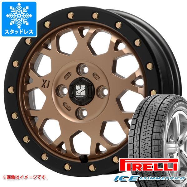 スタッドレスタイヤ ピレリ アイスアシンメトリコ 155/65R14 75Q & エクストリームJ XJ04 MB 軽カー専用 4.5-14 タイヤホイール4本セット 155/65-14 PIRELLI ICE ASIMMETRICO