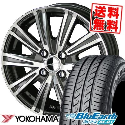 185/55R15 82V YOKOHAMA ヨコハマ BluEarth AE-01 ブルーアース AE01 SMACK SPARROW スマック スパロー サマータイヤホイール4本セット