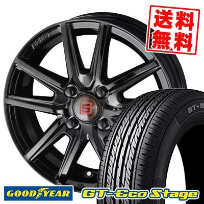 195/55R15 85V Goodyear グッドイヤー GT-Eco Stage ジーティー エコステージ SEIN SS BLACK EDITION ザイン エスエス ブラックエディション サマータイヤホイール4本セット