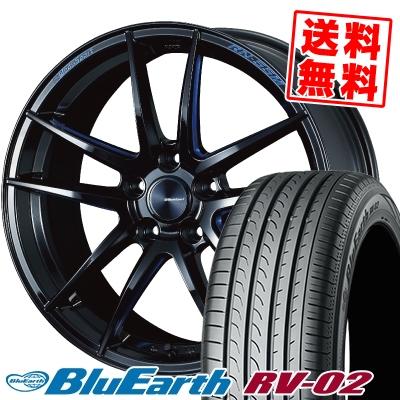 18インチ YOKOHAMA 新商品 ヨコハマ BLUE EARTH RV02 実物 ブルーアース RV-02 225 60 100V 60R18 RN-55M WedsSport ウェッズスポーツ 18 サマーホイールセット サマータイヤホイール4本セット 225-60-18 取付対象