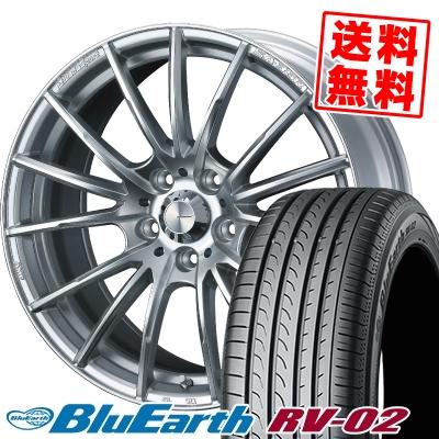 225/55R18 98V YOKOHAMA ヨコハマ BLUE EARTH RV02 ブルーアース RV-02 WedsSport SA-35R ウェッズスポーツ SA-35R サマータイヤホイール4本セット