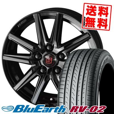 225/45R18 95W XL YOKOHAMA ヨコハマ BLUE EARTH RV02 ブルーアース RV-02 SEIN SS BLACK EDITION ザイン エスエス ブラックエディション サマータイヤホイール4本セット