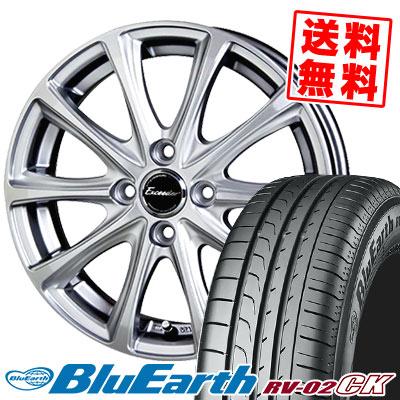 185/70R14 88S YOKOHAMA ヨコハマ BLUE EARTH RV02 CK ブルーアース RV-02 CK Exceeder E04 エクシーダー E04 サマータイヤホイール4本セット