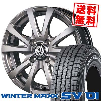 165/80R14 DUNLOP ダンロップ WINTER MAXX SV01 ウインターマックス SV01 TRG-BAHN TRG バーン スタッドレスタイヤホイール4本セット