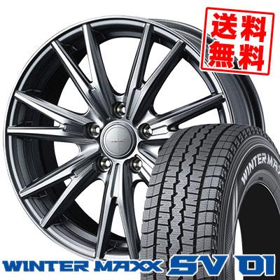 215/70R15 107/105L DUNLOP ダンロップ WINTER MAXX SV01 ウインターマックス SV01 VELVA KEVIN ヴェルヴァ ケヴィン スタッドレスタイヤホイール4本セット