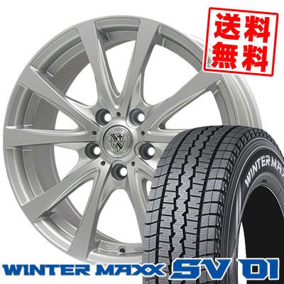 215/70R15 107/105L DUNLOP ダンロップ WINTER MAXX SV01 ウインターマックス SV01 TRG-SILBAHN TRG シルバーン スタッドレスタイヤホイール4本セット