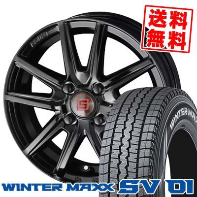155R12 6PR DUNLOP ダンロップ WINTER MAXX SV01 ウインターマックス SV01 SEIN SS BLACK EDITION ザイン エスエス ブラックエディション スタッドレスタイヤホイール4本セット