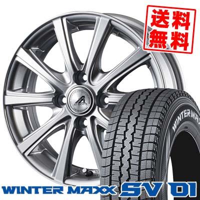145R12 8PR DUNLOP ダンロップ WINTER MAXX SV01 ウインターマックス SV01 AZ sports YL-10 AZスポーツ YL-10 スタッドレスタイヤホイール4本セット