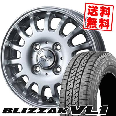 145R12 8PR BRIDGESTONE ブリヂストン BLIZZAK VL-1 ブリザック VL1 VICENTE-04CA ヴィセンテ04 CA スタッドレスタイヤホイール4本セット