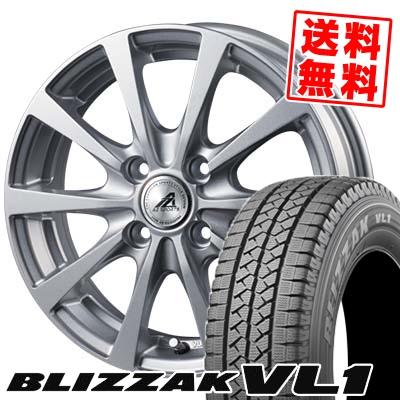 155R12 6PR BRIDGESTONE ブリヂストン BLIZZAK VL-1 ブリザック VL1 AZ SPORTS EX10 AZスポーツ EX10 スタッドレスタイヤホイール4本セット