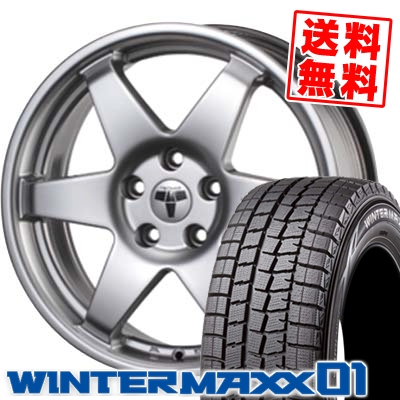 215/65R16 98Q DUNLOP ダンロップ WINTER MAXX 01 ウインターマックス 01 WM01 TECMAG type206R テクマグ タイプ206R スタッドレスタイヤホイール4本セット