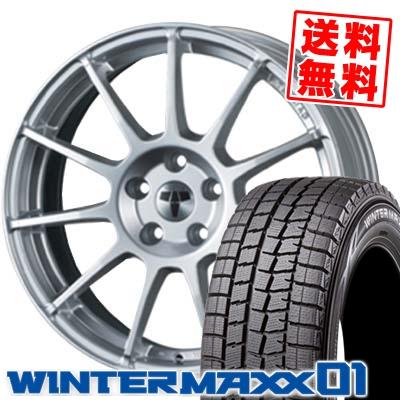 235/50R18 97Q DUNLOP ダンロップ WINTER MAXX 01 ウインターマックス 01 WM01 TECMAG type211R テクマグ タイプ211R スタッドレスタイヤホイール4本セット