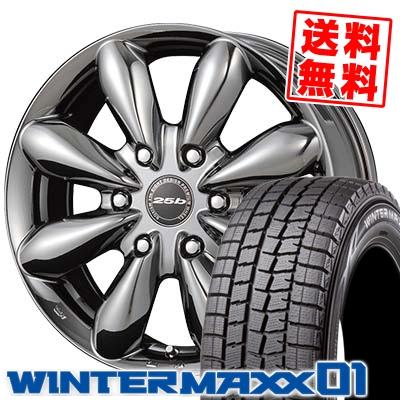 215/60R17 DUNLOP ダンロップ WINTER MAXX 01 WM01 ウインターマックス 01 BOXISM 25b ボクシズム 25b スタッドレスタイヤホイール4本セット