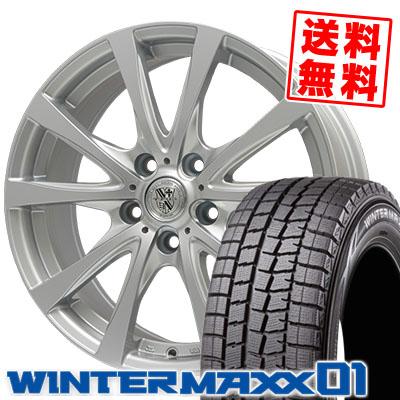 205/65R15 94Q DUNLOP ダンロップ WINTER MAXX 01 WM01 ウインターマックス 01 TRG-SILBAHN TRG シルバーン スタッドレスタイヤホイール4本セット