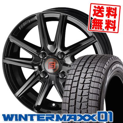 185/55R15 82Q DUNLOP ダンロップ WINTER MAXX 01 WM01 ウインターマックス 01 SEIN SS BLACK EDITION ザイン エスエス ブラックエディション スタッドレスタイヤホイール4本セット