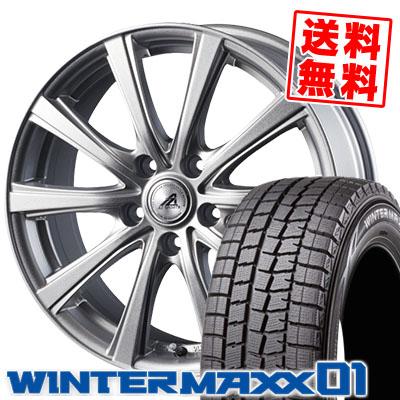 205/65R15 DUNLOP ダンロップ WINTER MAXX 01 WM01 ウインターマックス 01 AZ sports YL-10 AZスポーツ YL-10 スタッドレスタイヤホイール4本セット