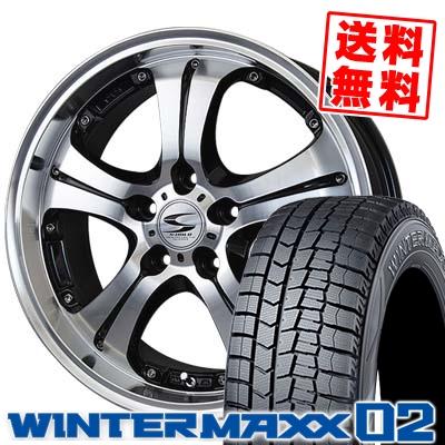 225/60R17 DUNLOP ダンロップ WINTER MAXX 02 WM02 ウインターマックス 02 BADX S-HOLD ANHELO バドックス エスホールド アネーロ スタッドレスタイヤホイール4本セット