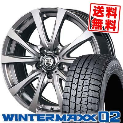 205/60R15 DUNLOP ダンロップ WINTER MAXX 02 WM02 ウインターマックス 02 TRG-BAHN TRG バーン スタッドレスタイヤホイール4本セット